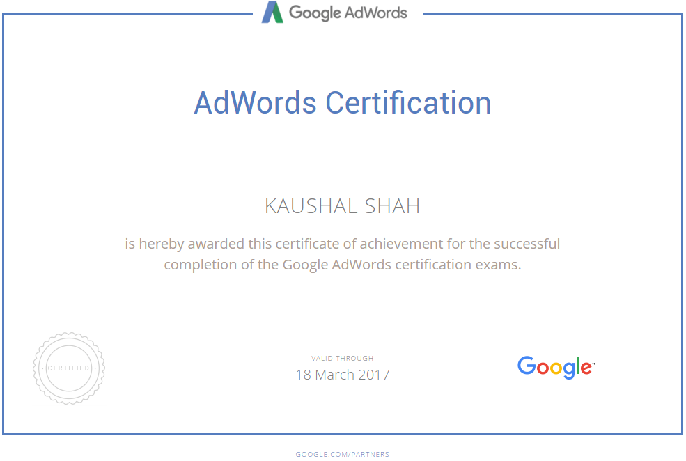 Google Adwords Individual Certification